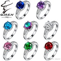 Wholesale Big promotion silver rings fashion natural crystal female wedding gemstone ring fashion Sterling silver jewelry rings for women