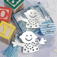 Wholesale With retail package Free DHL Shipping Lovable Baby Boy With Blue or Pink Tessels Bookmark Baby Shower Wedding Party Favors Gift