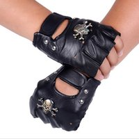 Wholesale Brand Leather Motorcycle Motorcross Racing Gloves Half Fingers Pirate skull rivet Punk Gloves