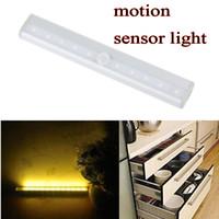 10 LEDs Capteur de mouvement Cabinet Cabinet LED Night Light Cool / Warm White Battery Operated Barre de lumière avec bande magnétique