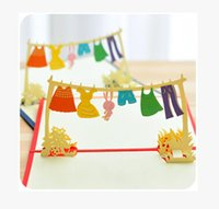 baby shower greeting cards - Creative happy life colorful clothes hanger D greeting cards suit for birthday party baby shower party