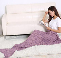 beds with tv - Summer Mermaid Tail with scales Luxury blanket throw Sofa TV bed Sleeping Bag air conditioning Blanket for Adults