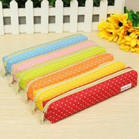Wholesale Hot Sale Cute Candy Color Pencil Case Polka Dot Colorful Canvas Pen Bag Stationery Pouch for Girls Gift Office School Supplies