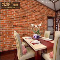 antique wallpaper - Chinese style antique brick brick pattern wallpaper store decoration D Restaurant restaurant hotel corridor red brick retro wallpaper