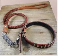 big dog collars and leashes - High Quality Genuine Leather Large Dog leashes Pet Traction Rope Collar For medium and big pet dogs Color Size M Xl