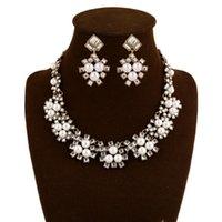 Wholesale New Fashion Wedding Dress Jewelry Set Gemstone pearl necklace earring women fashion