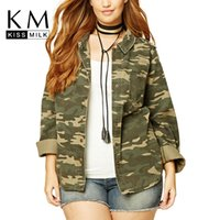 Wholesale KissMilk Camouflage Turn down Collar Long Sleeve Single Breasted Coat Autumn Fashion Street Style Coat Plus Size XL XL XL XL