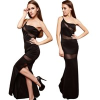 Wholesale Sexy Ladies One Shoulder Dress Club Maxi Dresses Floor Length Hollow Out Split Evening Party Beach Speacil Occasion Dress