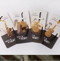 Wholesale musical instruments beautifully bookmark creative metal music lanyard bookmark