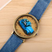 golf battery - Classical Golf pattern dial PU and denim bracelet Novelty and Cool looking Fancy watch Decorating watch Top grade