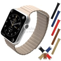adjustable replacement leather strap - Apple Watch Band mm mm Leather Loop with Adjustable Magnetic Closure iWatch Band Replacement Bracelet Strap with Retailpackage
