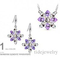 aqua ice - South Korean high grade temperament women Austrian crystal earrings necklace two piece ice colors G128