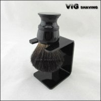 Wholesale 26mm knot Resin handle black badger hair shaving brushes with free stand brush round handle brake