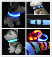 Wholesale Brand new Pet supplies series LED Nylon Dog collars Sided translucent Night safty LED light up flashing battery rechargeable colors