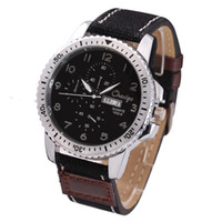 atm cases - Chaxigo Men Watch Three Eyes Six Pin Fashion Canvas Jean Leather Watchband Alloy Case Quartz Movement ATM Waterproof Wristwatches