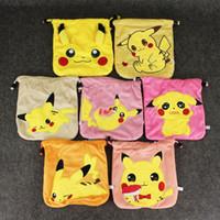 Wholesale Game Pikach plush shrink bag anime Pikach cute rope storage bag drawstring bag Christmas Gift HOT