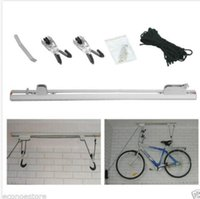 aluminum roof ladders - Garage Bike Ladder Aluminum Ceiling Rack Hoist meter PP rope Two Bicycle Rail Mount Lift
