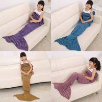 Wholesale 140x70cm colors Children Yarn Knitted Mermaid Tail Blanket Handmade Crochet Mermaid Blanket Throw Bed Sofa Wrap Sleeping Bag