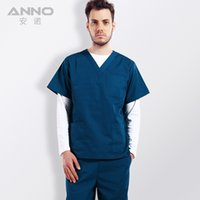 Wholesale Top hospital medical surgical scrub clothing doctor nurse long polyester cotton short sleeve isolation gown Anno