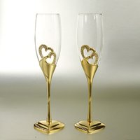 base flute - 1 pair golden color heart shape base crystal glass champagne glass of red wine lovers creative wedding transparent goblet