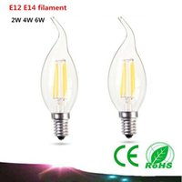 Wholesale E12 E14 LED Candle Light W W W Edison filament AC110V V LED Lamp C35T LED bulb warm white white