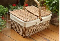 basket with lid - nature Wicker Basket storage Basket Classical Wicker Gift Fruit Picnic Basket with handle lid and liner