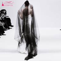 Acheter Deux usure-Deux couches de voile de mariage noir mariage simple Vêtements de mariage long Veil de mariage pour porter le voile de tulle Z2028