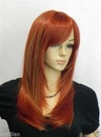 beautiful gifts wigs - gt Beautiful lady Long red copper Mixed Cosplay Party Straight Wigs wig cap gift