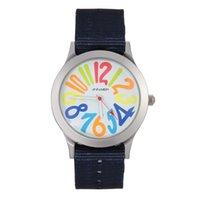 big colorful watches - Fashion Jinnaier women s Girl colorful big Numbers style Nylon strap quartz wrist watch J21
