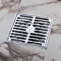 Wholesale Bathroom Balcony Copper Deodorant Square Floor Drain Strainer Cover Sink Grate Waste Silver Color inch