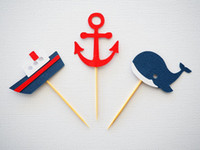 baby themed food - Set of nautical themed cupcake toppers insert cards food picks wedding baby bridal shower Cake Accessories decorations
