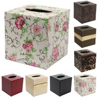Wholesale PU Leather Tissue Box Case Home Table Bathroom Decor Square Elegant Paper Napkin Holder For Office Car Hot