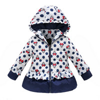 Wholesale Belababy Girls Winter Coat Children Cute Polka Dot Hooded Down Jacket Kids Girl Warm Outwear Baby Girls Fashion Cartoon Clothes fs