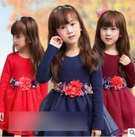 american red wine brands - Winter new grils princess dress children cotton thicken tulle dress kids long sleeve stereo flower belt party dress T0209 red blue red wine