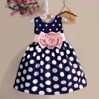 american princess prom dresses - Whosale children summer dress girl polka dot flower dress baby girl bownot princess party dress baby girl prom party dress