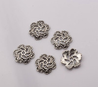 antique silver filigree jewelry - Hot Antique silver Zinc Alloy Filigree Flower End Bead Caps x13x2 mm DIY Jewelry