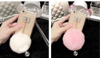 ear covers - New Cheap Iphone6 s Plus Mickey Mouse Ears Rhinestone Cases iphone s Diamond Skin Glitter DIY Bling Cover With Rabbit Fur Ball Pendant