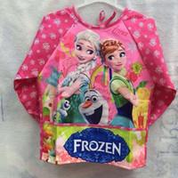 children smock - Frozen Elsa Anna Aprons Kids Water Proof Apron Children Cartoon Cooking Smock in stock