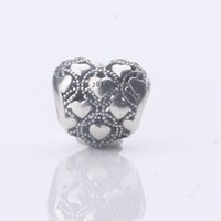 Wholesale Clearance Sale Sterling Silver Charms Heart Love Crystal Beads Fits for European pandora Bracelets Lover gift Women Jewelry