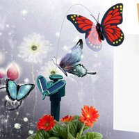 Wholesale Hot Sale Solar Powered Dancing Flying Butterfly Garden Decoration Color At Random E5M1 order lt no track
