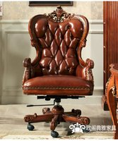 Wholesale American Solid wood chair Leather Recreational chair European boss chair