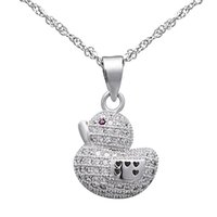Wholesale Gift jewelry silver lovely little duck pendant animal necklace jewelry online PJ00737