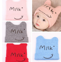 baby beanie knitting pattern - New Unisex Sweet Milk smile print Hats Baby Cartoon pattern Knitted warm beanies Toddler cute headgear colors for T