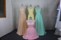 best light photos - Best Sales Lace Bridesmaid Dresses A Line Jewel Neck Sleeveless Floor Length Evening Dresses Chiffon Pink Blue Yellow Prom Formal Gown ZY712