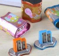 Wholesale Pupils cute cartoon school supplies pencil sharpener with two holes pencil sharpener pieces
