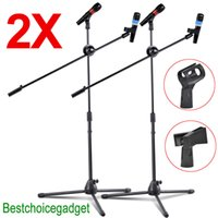 Wholesale 2 Pack Dual Microphone Stand Boom Arm Holder Mic Clip Stage Studio Tripod