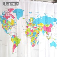 Wholesale Shower Curtain World Map Pattern Creative Shower Curtain Bathroom Waterproof Polyester Fabric cm Hooks
