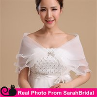 Wholesale In Stock Simple V Neck Organza Bridal Wedding Wraps Shawls Jackets Capes Capelet for Brides Bridesmaid Prom Quinceanera Dresses Accessories