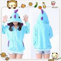 animal ear hoodie - Hot Cosplay Blue Dinosaur Kawaii Anime Hoodies Animal Jacket Hoody with Ears Costume Size S M L XL