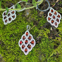 Wholesale Angel Feather ct Fine Jewelry Set Natural Gem Red Garnet Sterling Silver Shining Necklace Earrings